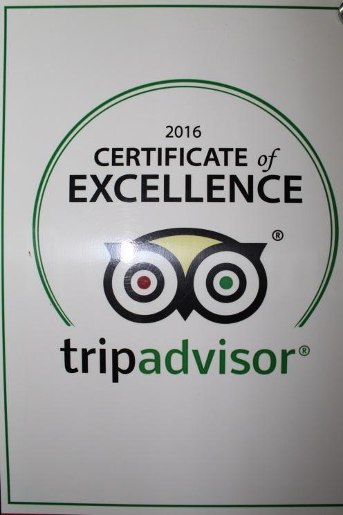 Certificate of Excellence på TripAdvisor - vi förstår varför!
